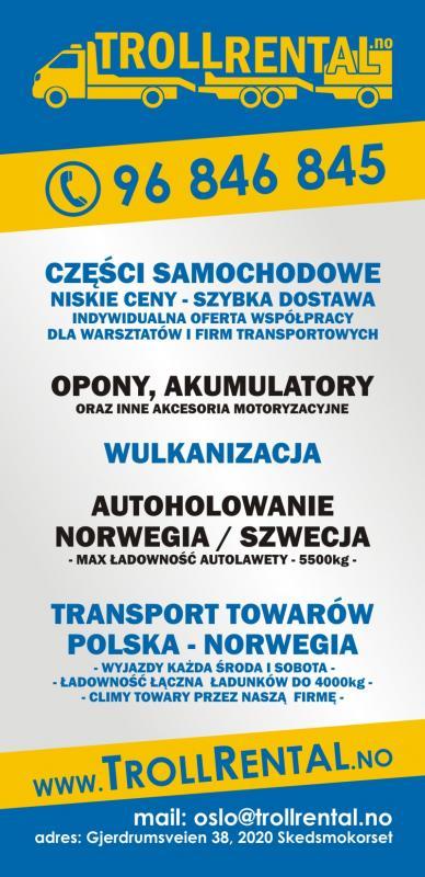 TRANSPORT POLSKA-NORWEGIA 2 RAZY W TYGODNIU!