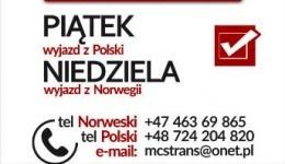 PACZKI POLSKA-NORWEGIA-POLSKA MCS WYJAZD 27.01