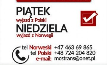 PACZKI POLSKA-NORWEGIA-POLSKA MCS WYJAZD 07.04