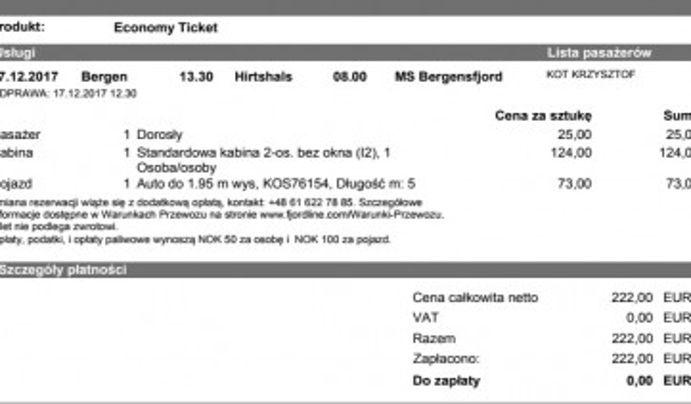 Bilet fjordline z bergen do hirshals 17.12